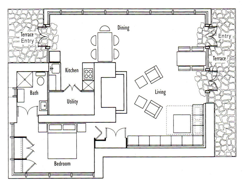 Frank Lloyd Wright\'s Seth Peterson Cottage | Floor Plan